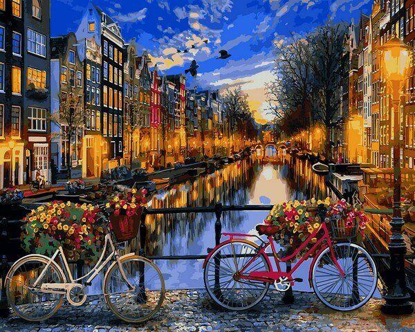 VP1148 Раскраска по номерам Вечерний Амстердам