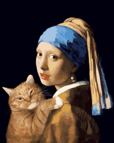 VP1171 Картина-раскраска по номерам Девушка с жемчужной серёжкой с котом