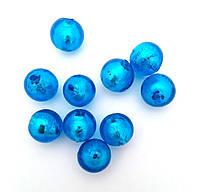 Бусина LW синяя с  фольгированной сердцевиной, 12 мм