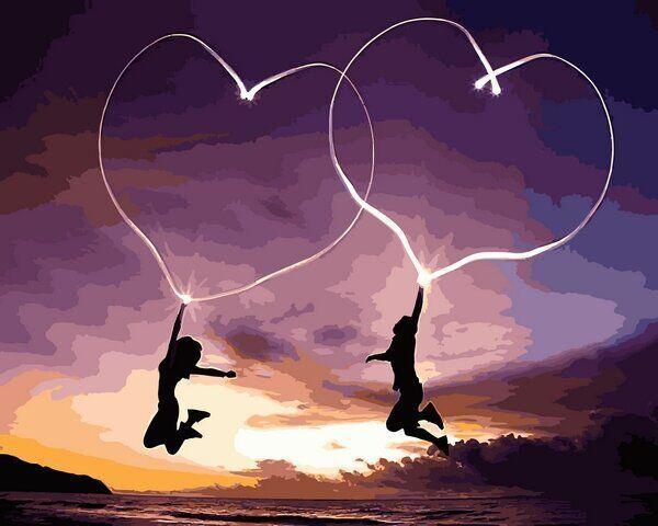VP1224 Картина-раскраска по номерам Влюблённые сердца