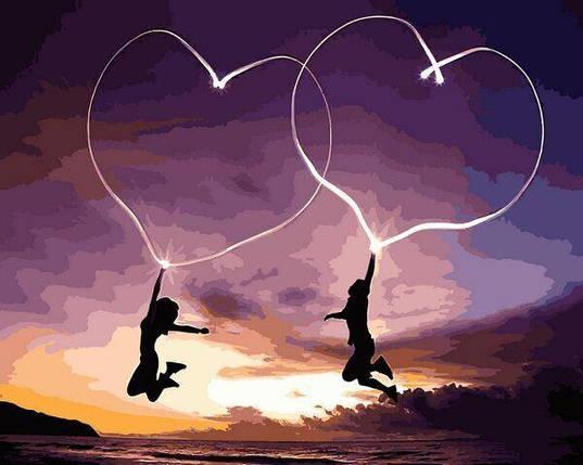 VP1224 Картина-раскраска по номерам Влюблённые сердца, фото 2