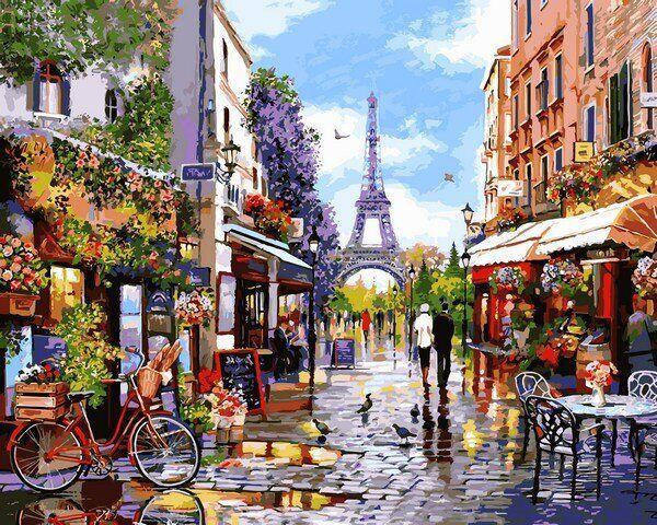 VP1243 Картина-раскраска по номерам Цветущий Париж