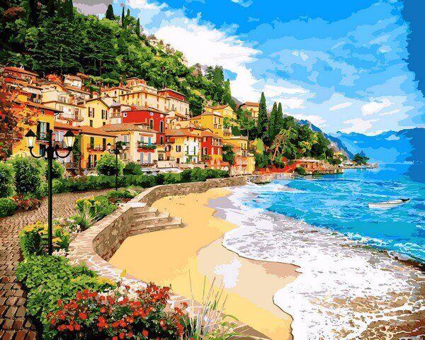 VP1246 Картина-раскраска по номерам Город у моря
