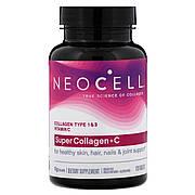 Коллаген + Витамин С, Тип 1&3, NeoCell, 120 таблеток