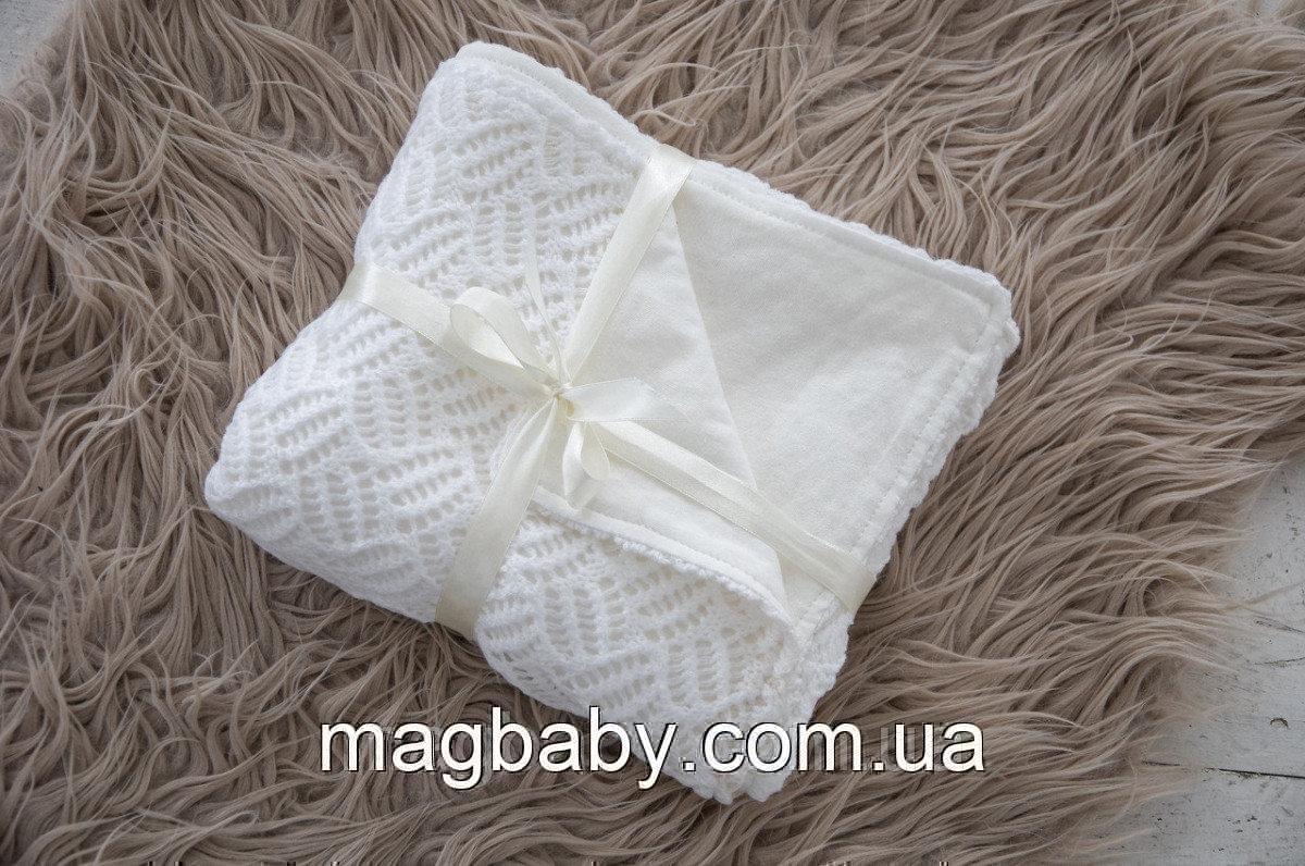 Ажурный вязанный плед на трикотаже, молочный