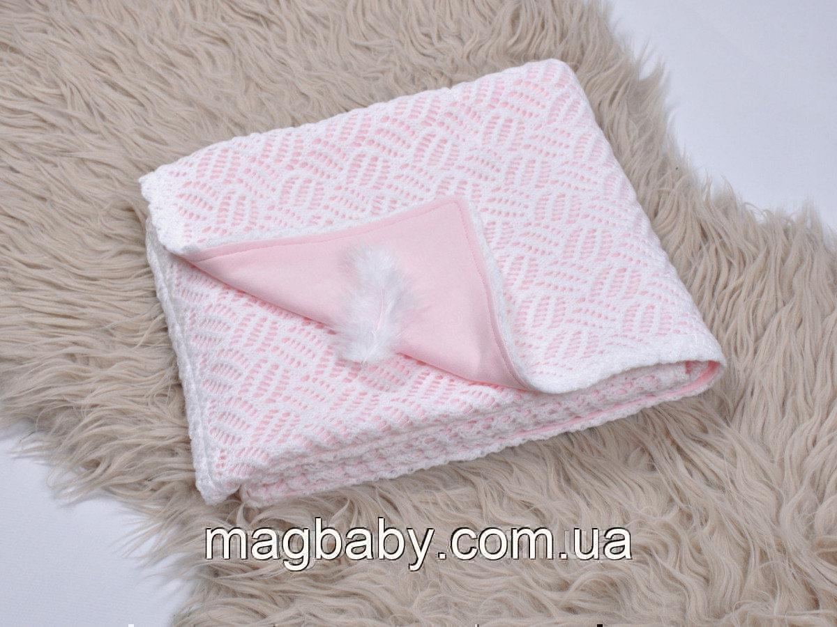 Ажурний в'язаний плед на трикотажі, ніжно-рожевий