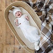 Безразмерная пеленка на молнии с шапочкой Каспер, Молочная