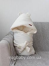 Велюровий конверт-ковдру на махре Velvet, молочний