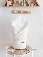 Вязаный конверт-одеяло Косы, светло-молочный