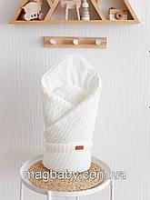 В'язаний конверт-ковдру Коси, світло-молочний