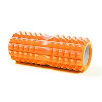 Массажный ролик (валик, роллер) CF88 33 х 13 см Ролик для йоги Оранжевый с выемкой