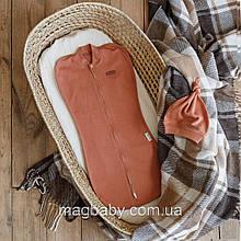 Евро пеленка на молнии с шапочкой Merely, карамельная 3-6 мес