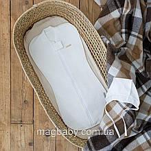 Євро пелюшка на блискавці з шапочкою утеплена Капітоні молочна 0-3 міс