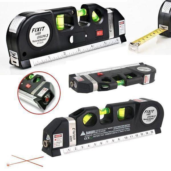 Уровень лазерный 4 в 1 жидкостный 3х уровень рулетка линейка Fixit Laser Level PRO 3