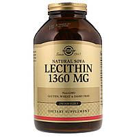 Лецитин Неотбеленный 1360 мг, Natural Soya Lecithin, Solgar, 250 желатиновых капсул