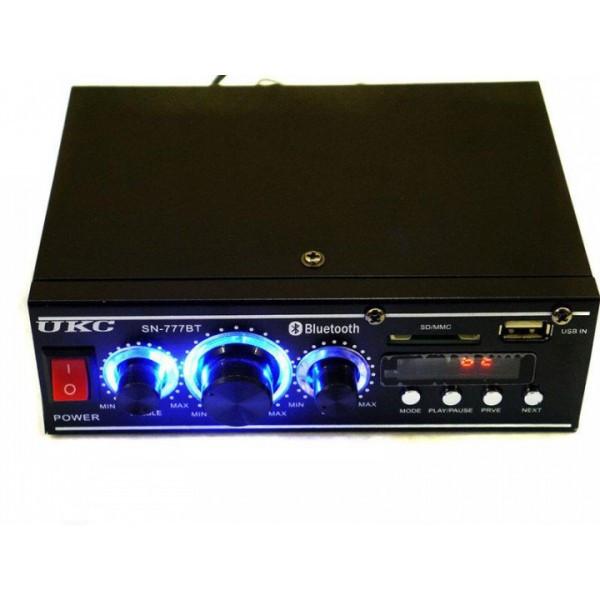 Усилитель звука для колонок Bluetooth пульт управления FM радио для дома и авто UKC 777BT