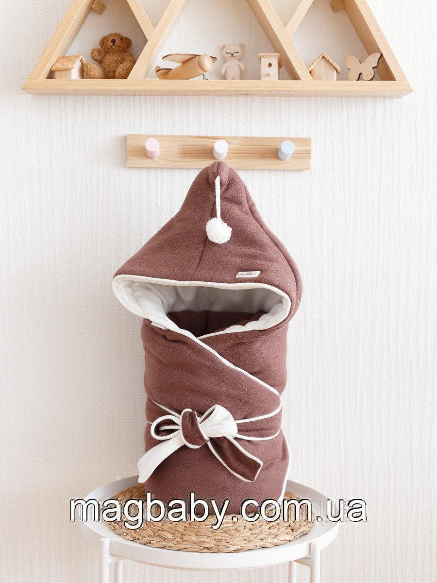 Конверт-одеяло Гномик, на трикотаже, коричневый каштан