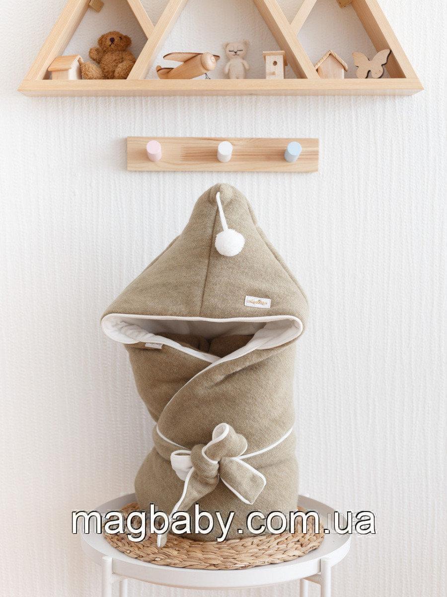 Конверт-одеяло Гномик, на трикотаже, оливковый