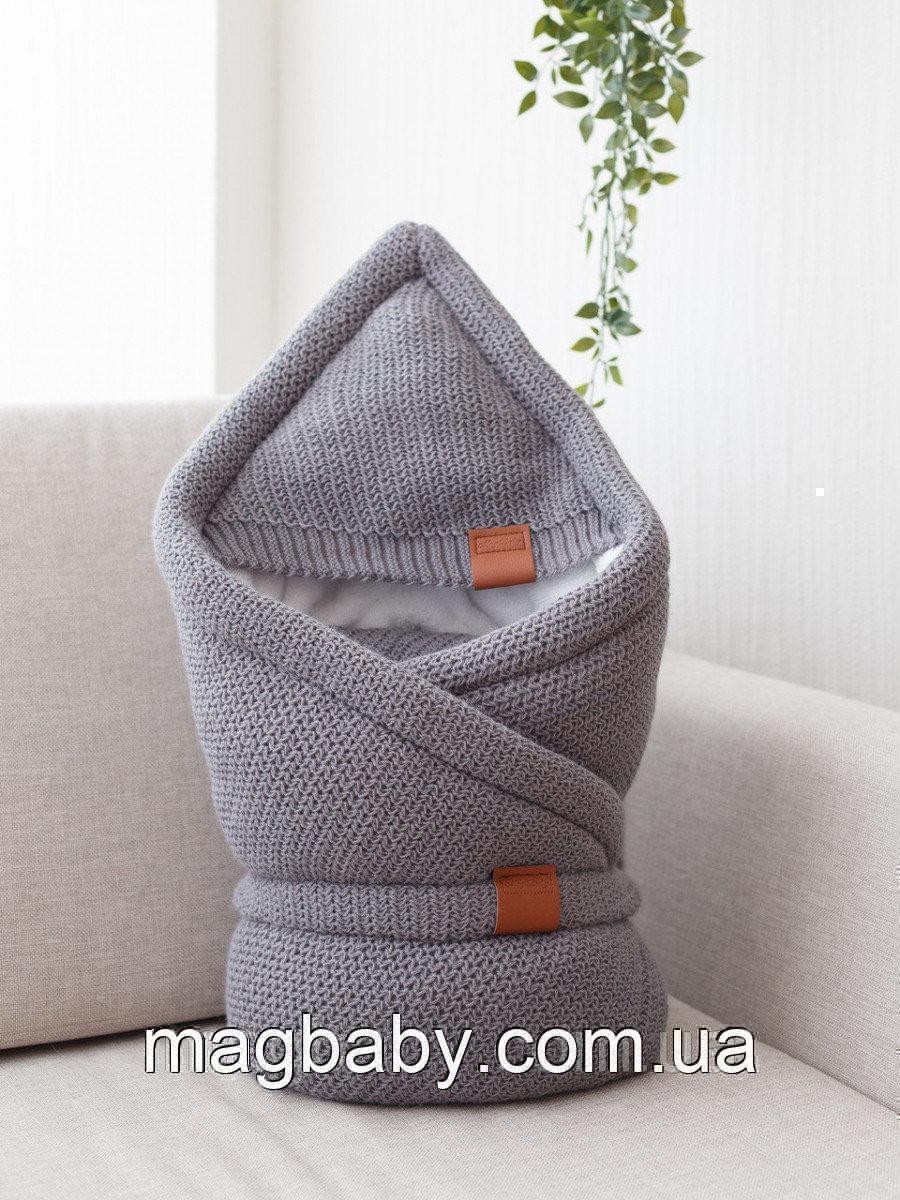 Конверт-одеяло на выписку на махре Familia, серый