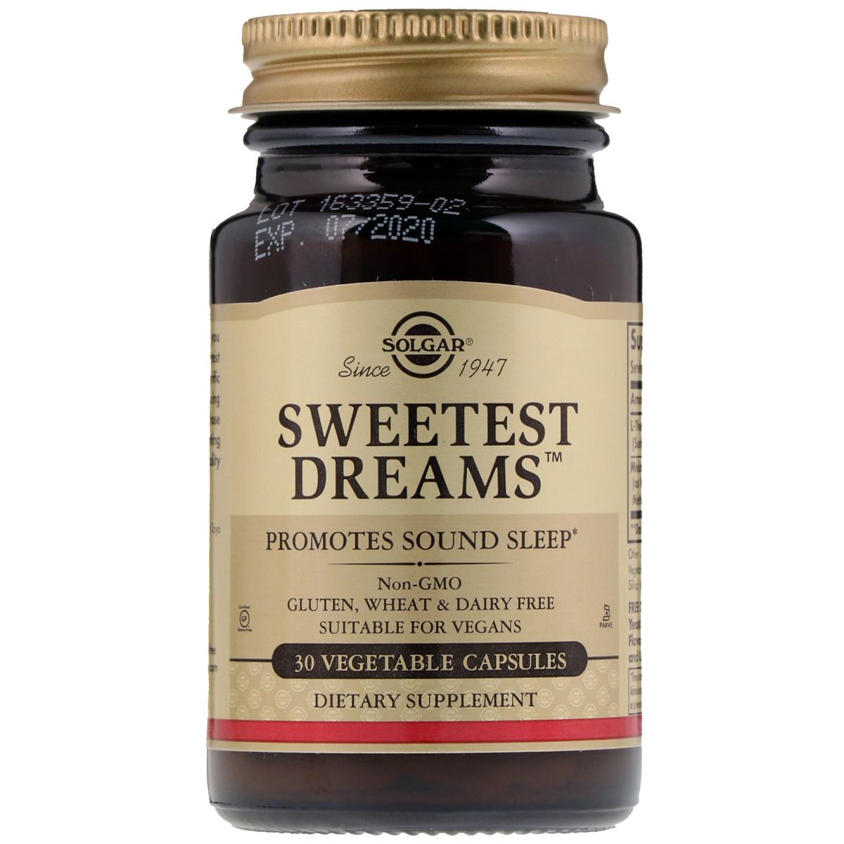 Комплекс для Сна Сладкий Сон с Мелатонином и L-теанином, Sweet Dreams, Solgar, 30 капсул