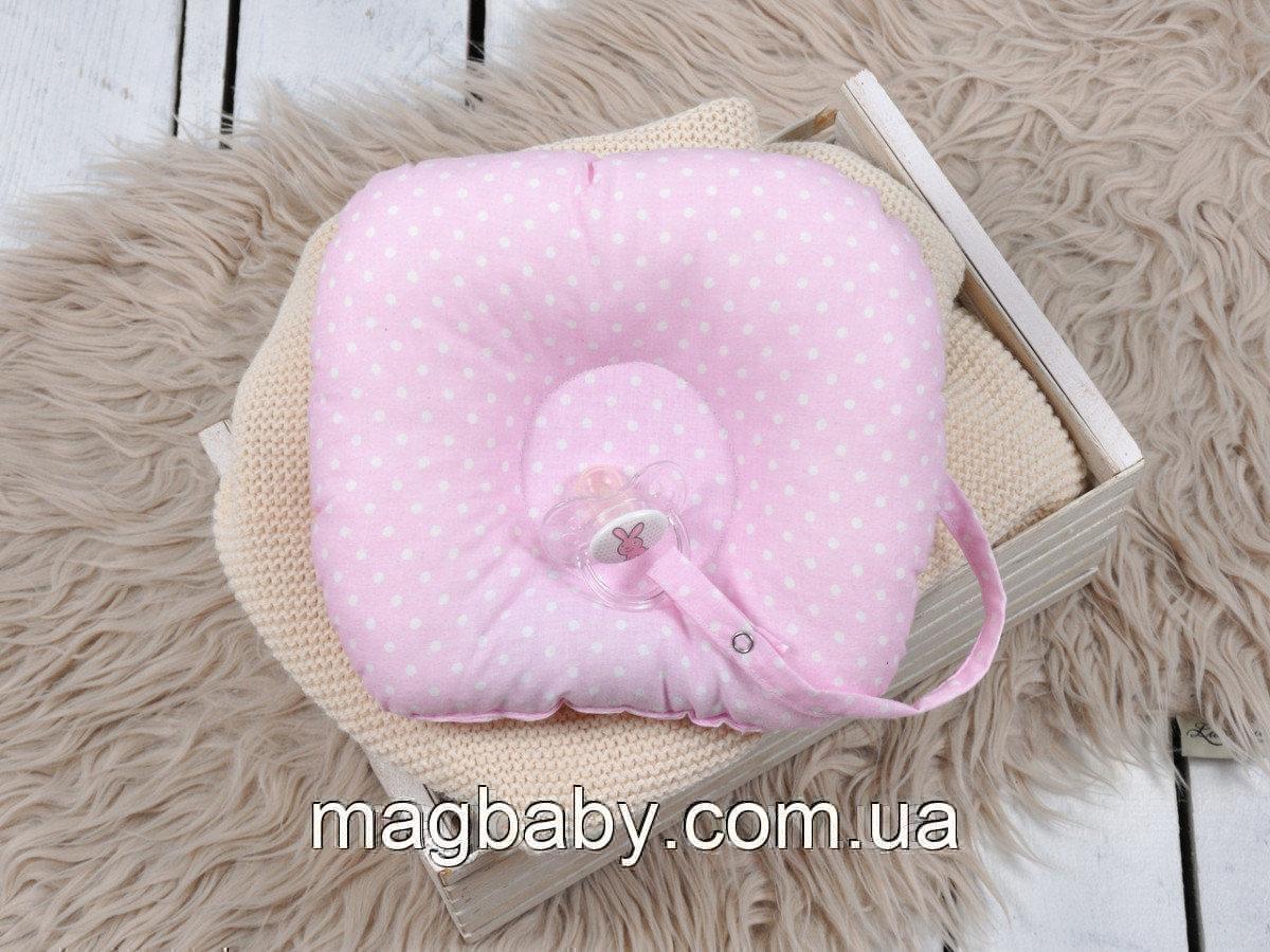 Подушка для новорожденных с держателем, горошек на розовом