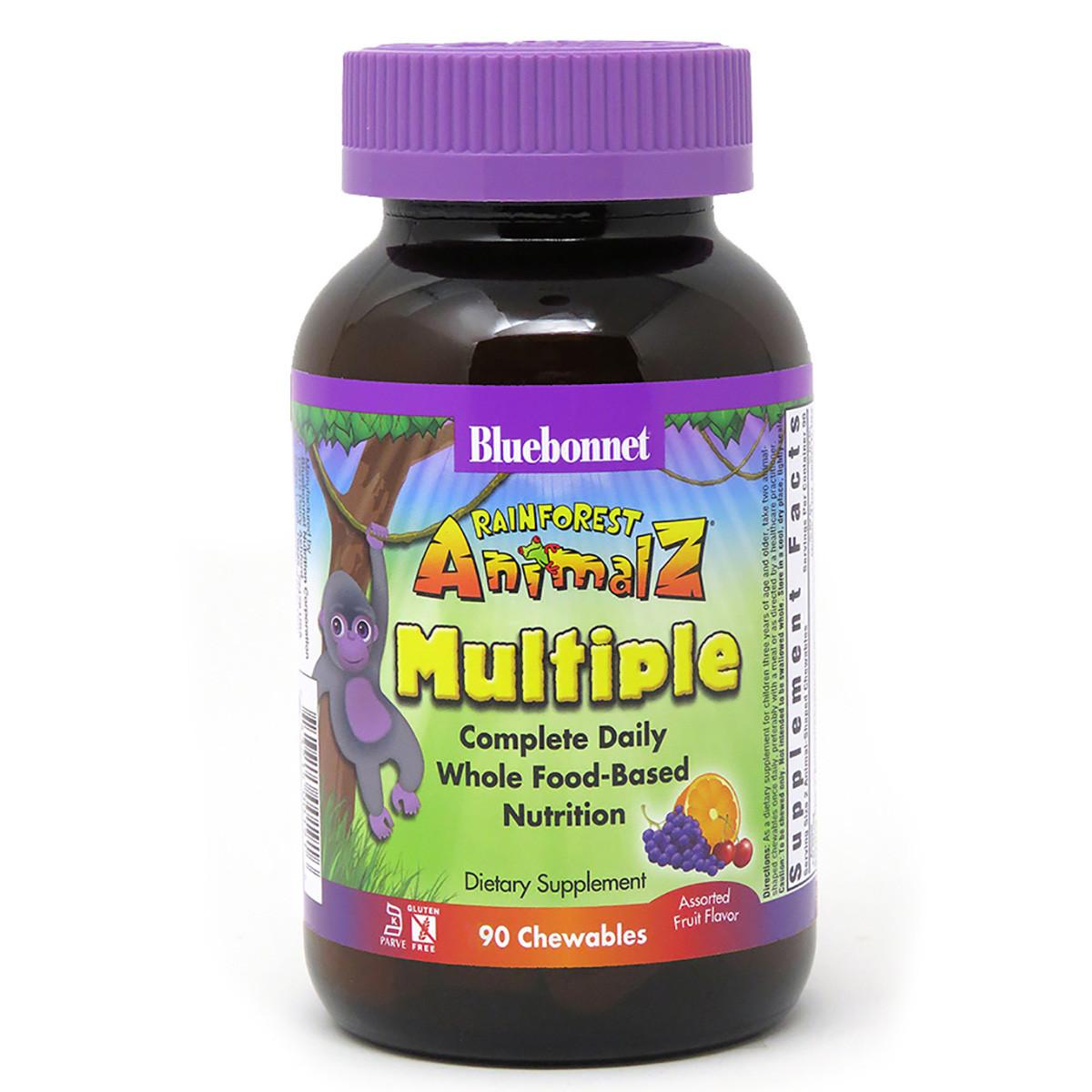 Мультивитамины для Детей, Вкус Фруктов, Rainforest Animalz, Bluebonnet Nutrition, 90 жев. таб.