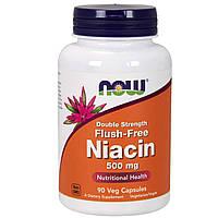 Ниацин (В3), No-Flush Niacin, Now Foods, 500 мг, 90 вегетарианских капсул