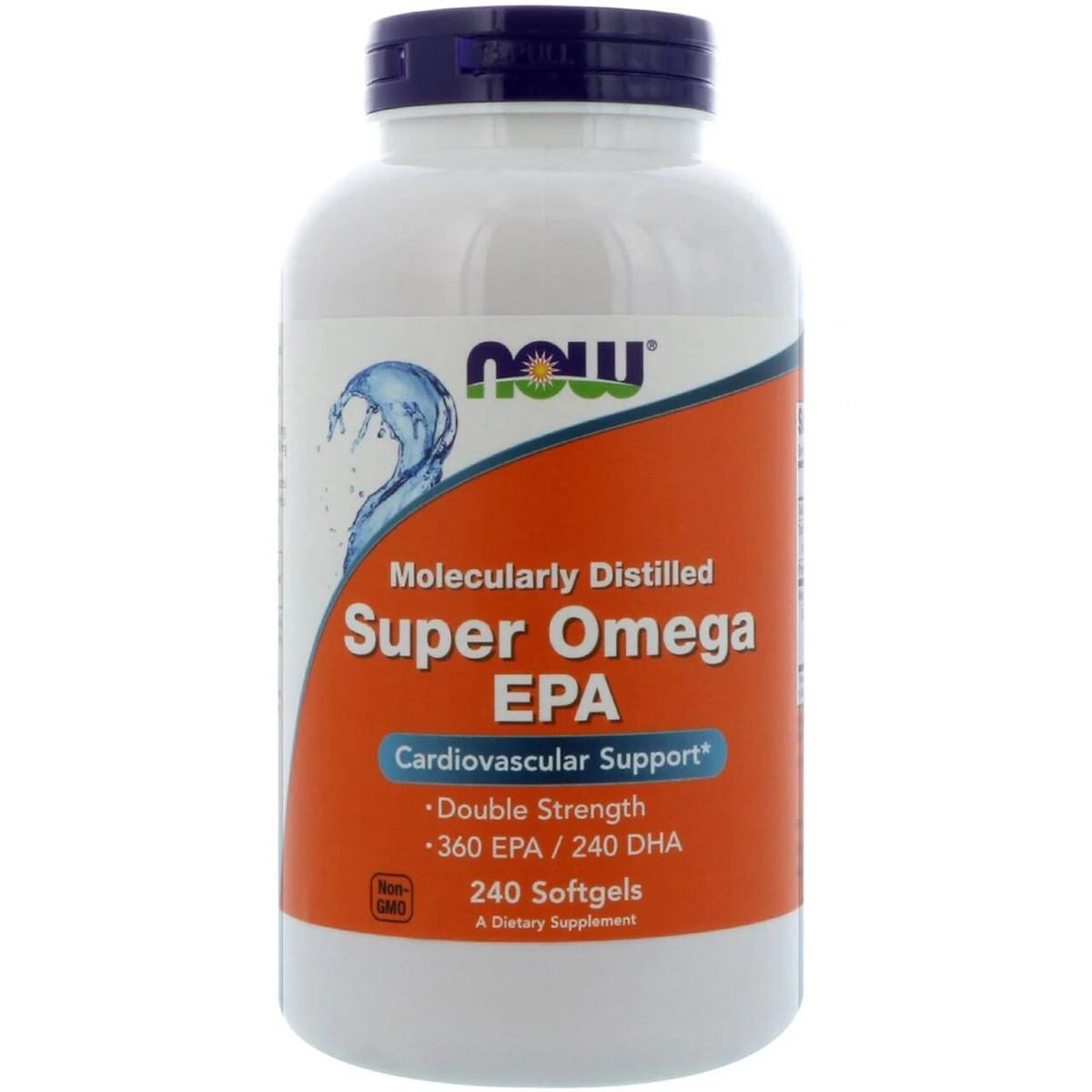 Супер Омега ЭПК (ейкозапентаиновая кислота) 1200мг, Now Foods, 240 желатиновых капсул