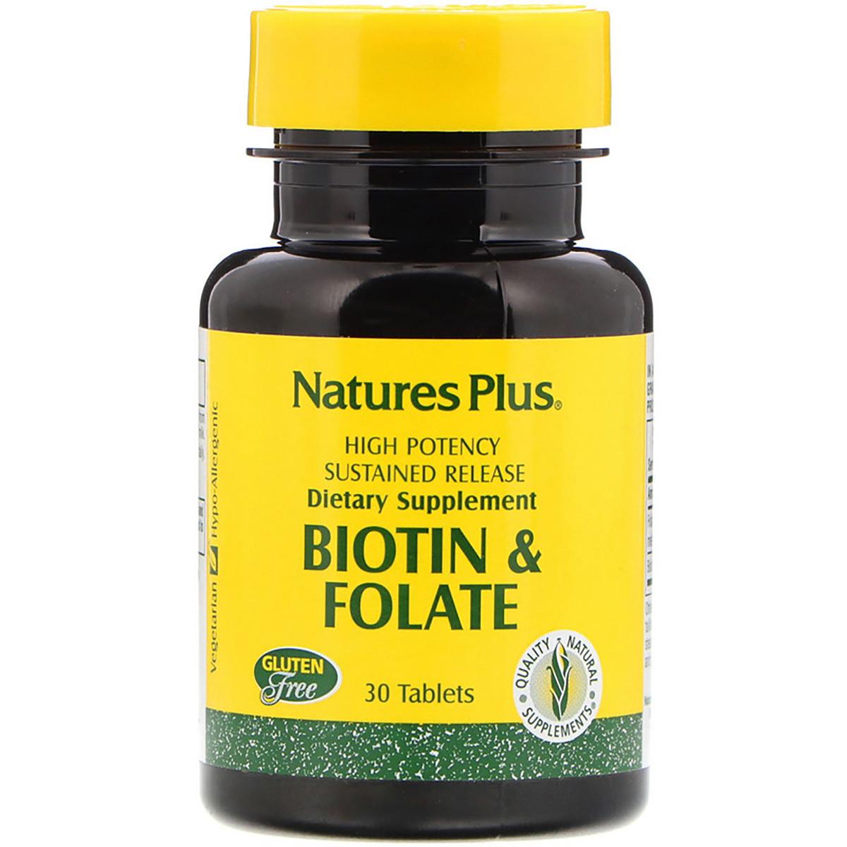 Биотин и Фолиевая кислота, Nature's Plus, 30 таблеток