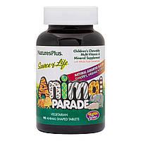 Детские Жевательные Мультивитамины,Вкус Ассорти, Source of Life, Animal Parade, Natures Plus, 90 таблеток