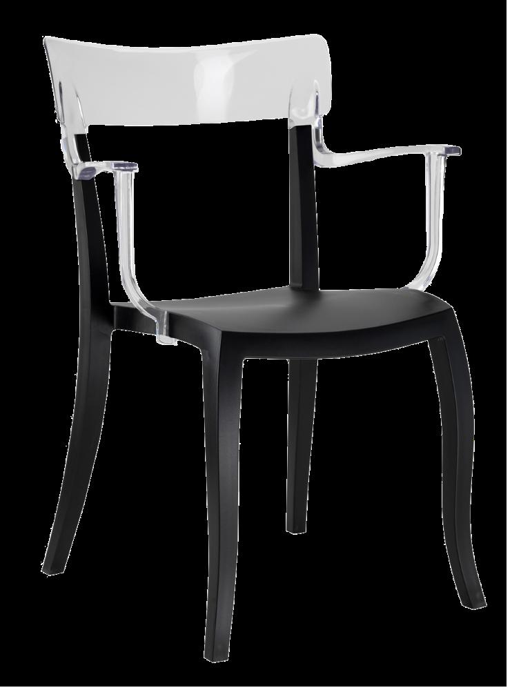 Дизайнерське крісло пластикове , чорне сидіння, верх прозоро-чистий