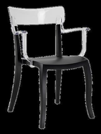 Дизайнерське крісло пластикове , чорне сидіння, верх прозоро-чистий, фото 2