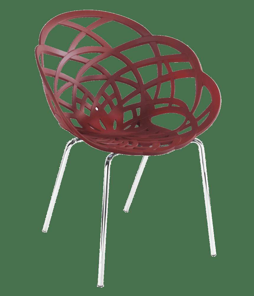 Пластикове дизайнерське крісло матовий червоний цегла сидіння, ніжки хром
