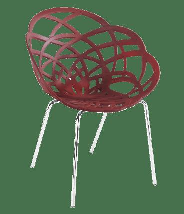 Пластикове дизайнерське крісло матовий червоний цегла сидіння, ніжки хром, фото 2