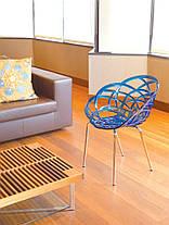 Пластикове дизайнерське крісло матовий червоний цегла сидіння, ніжки хром, фото 3