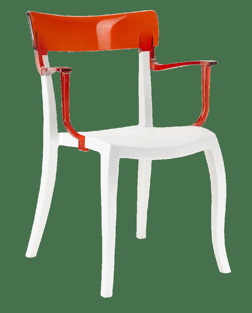 Крісло  Hera-K біле сидіння, верх прозоро-червоний