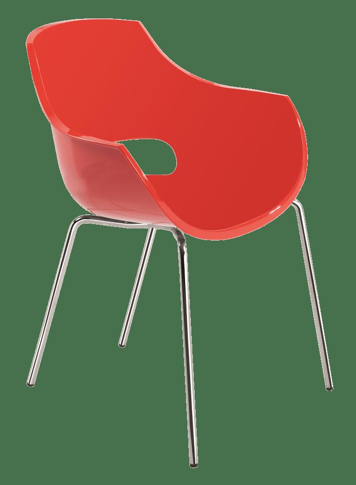 Пластикове дизайнерське крісло червоне