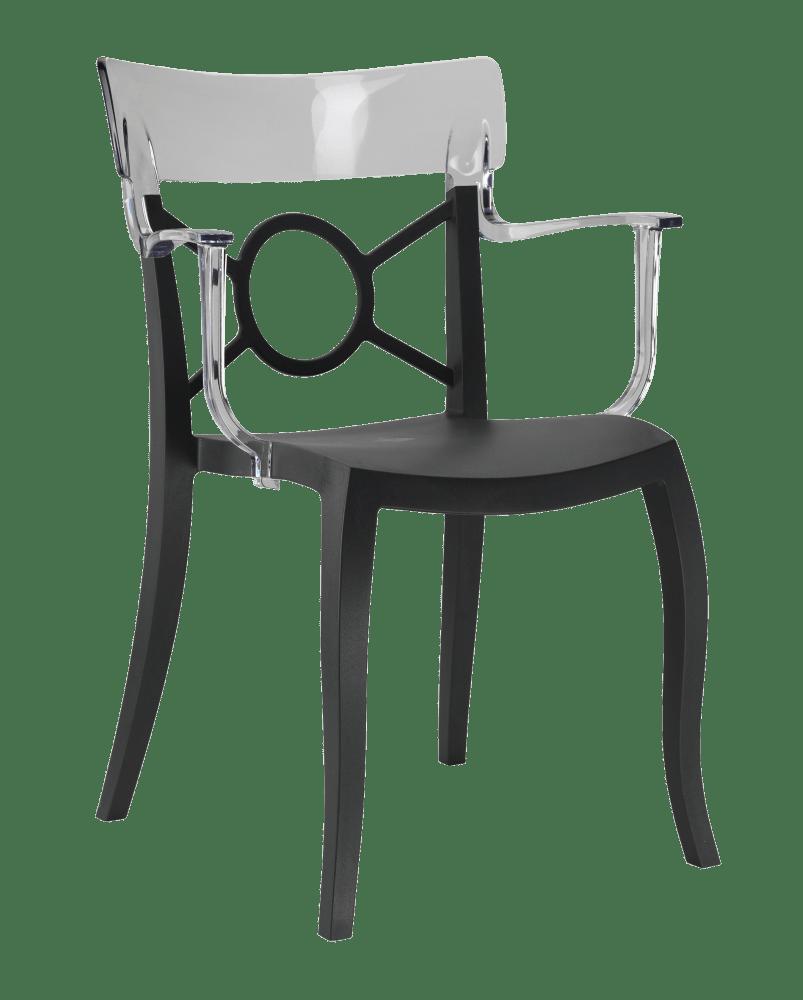 Пластикове дизайнерське крісло сидіння чорне, верх прозоро-чистий
