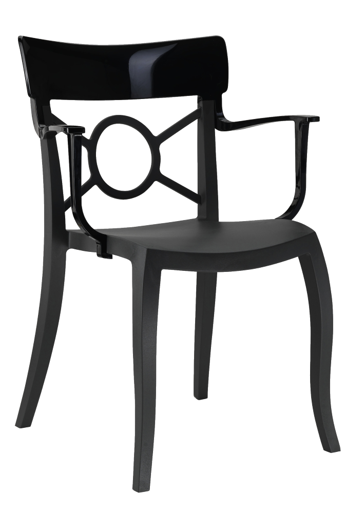Пластикове дизайнерське крісло сидіння чорне, верх чорний