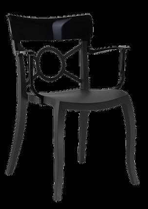 Пластикове дизайнерське крісло сидіння чорне, верх чорний, фото 2