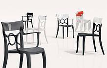Пластикове дизайнерське крісло сидіння чорне, верх чорний, фото 3