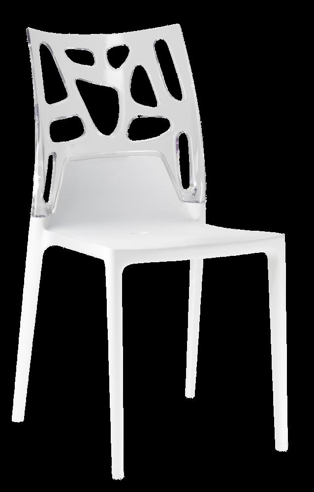 Пластиковий дизайнерський стілець біле сидіння, верх прозоро-чистий