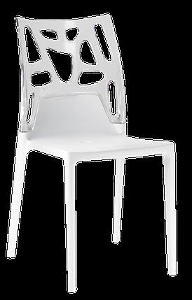Пластиковий дизайнерський стілець біле сидіння, верх прозоро-чистий, фото 2