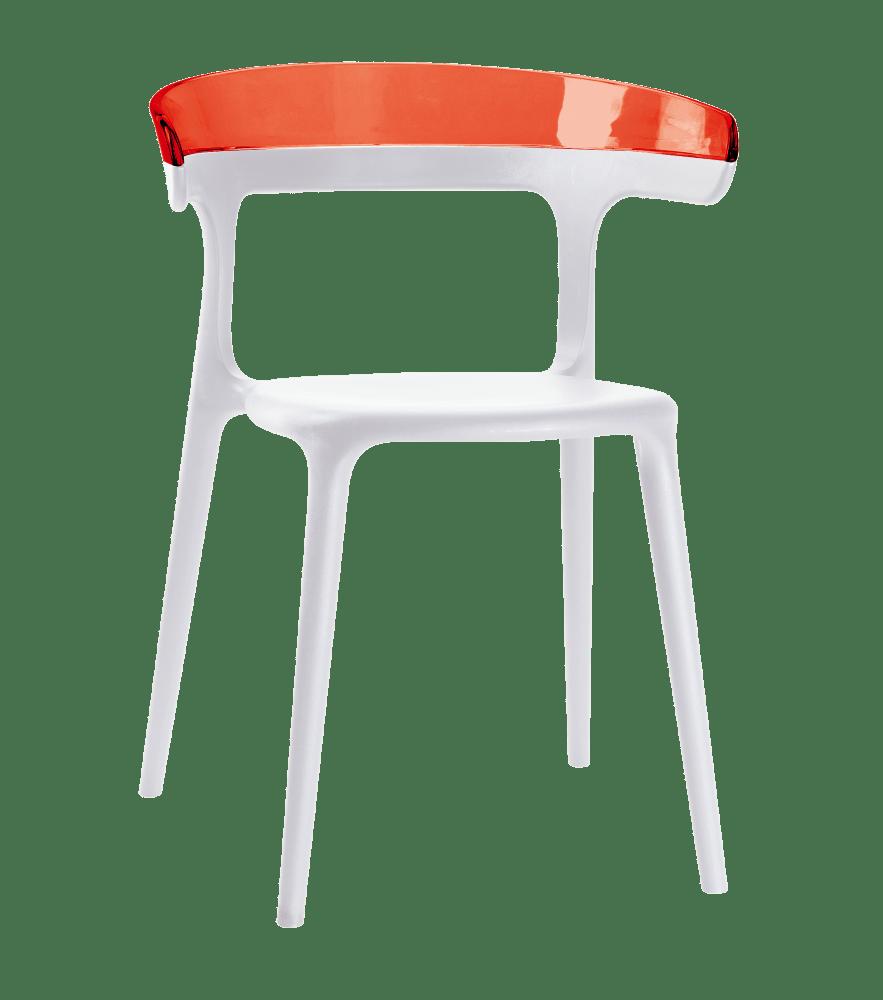 Крісло з пластика біле сидіння, верх прозоро-червоний