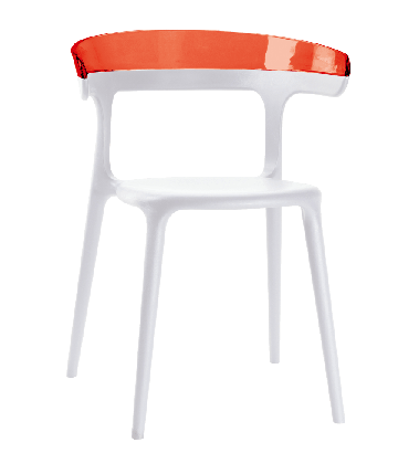 Крісло з пластика біле сидіння, верх прозоро-червоний, фото 2