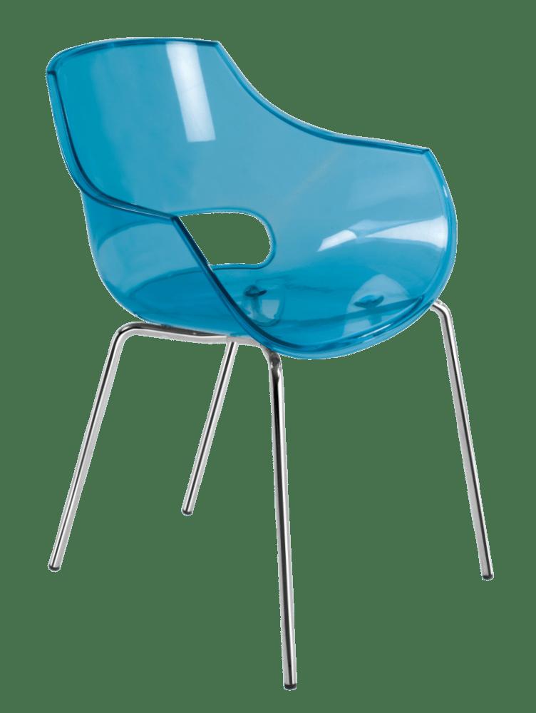 Крісло з пластика прозоро-синє