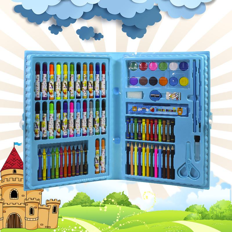 Большой набор для детского творчества и рисования Lesko Painting Set 86 предметов Blue детский в чемоданчике