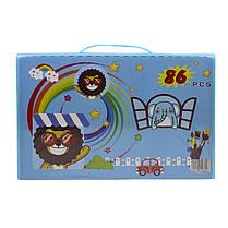 Большой набор для детского творчества и рисования Lesko Painting Set 86 предметов Blue детский в чемоданчике, фото 3