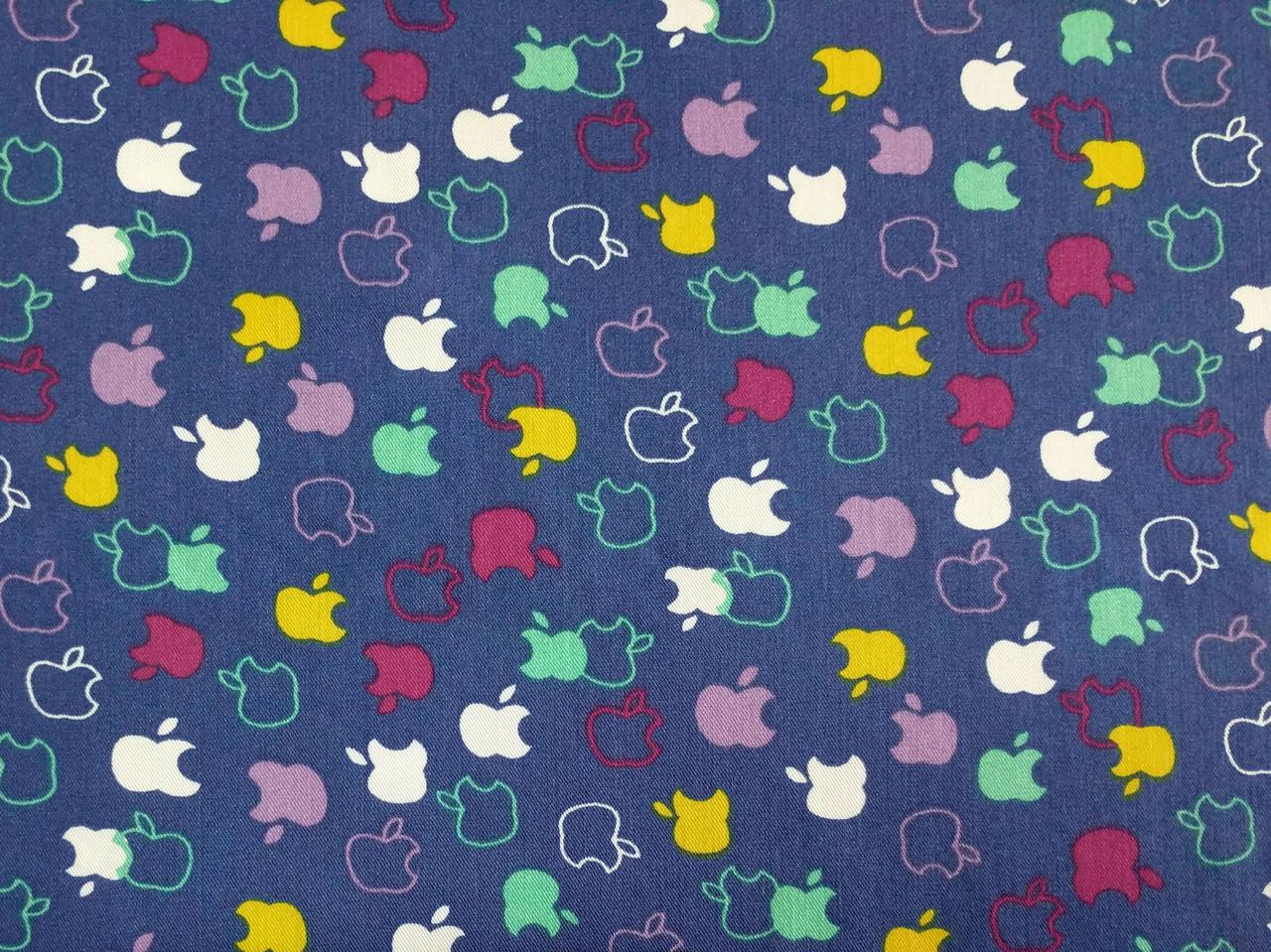 Джинс тенсел рубашечный разноцветные яблочки, голубой