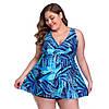 Купальник жіночий великих розмірів 54 - 64 Darina синій з принтом блакитний